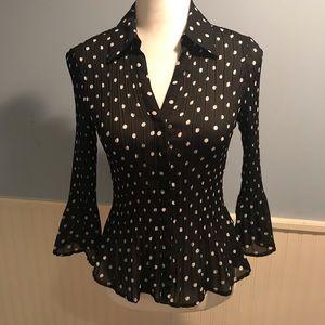 Sunny Leigh Bell Sleeve Polka Dot Blouse - Size S